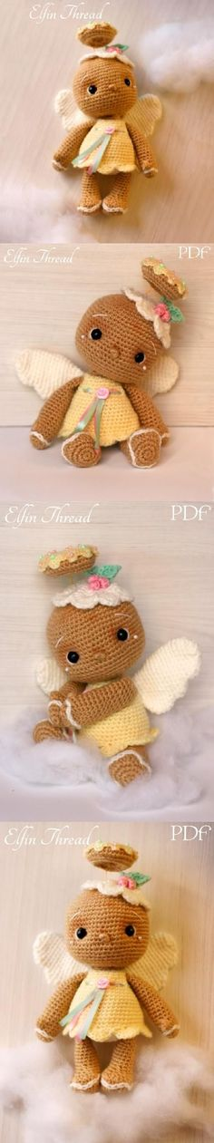 Vintage Gingerbread Angel Doll Amigurumi Pattern