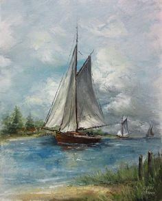Approaching Storm- Paint It Simply - Jansen Art Store 3 Canvas Paintings, Canvas Art, Ship Paintings, Wood Canvas, Peacock Canvas, Ocean At Night, Sailboat Painting, Boat Art, Nautical Art