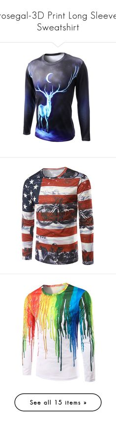 """""""rosegal-3D Print Long Sleeve Sweatshirt"""" by fshionme ❤ liked on Polyvore featuring men's fashion, men's clothing, men's shirts, men's t-shirts, mens long sleeve t shirts, mens star wars t shirts, mens long sleeve shirts, mens longsleeve shirts, mens patterned t shirts and mens print shirts"""