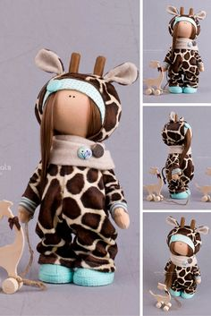Giraffe doll handmade Tilda doll Interior doll brown color Cloth doll rag doll by Master Alena Raduga