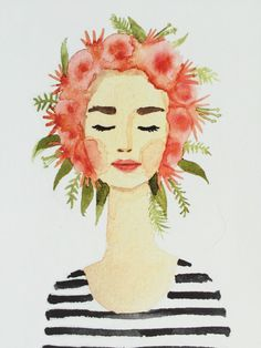 Print of original watercolor flower crown lady . coral, pink, gray stripes, fashion illustration, flowers, flower-crown giclee