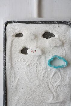 """marshmallow clouds .. yum they fit right in with the """"showered w/ love"""" baby shower theme"""
