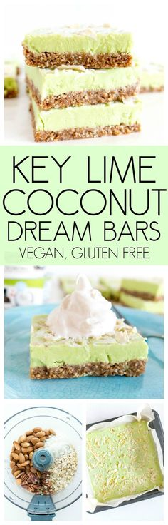 Key Lime Coconut Dream Bars. Vegan, Gluten Free, no refined sugars and colored naturally with spirulina & turmeric! The perfect cold, light and tart summer treat or dessert. #vegan #keylime #coconut #bars #dairyfree