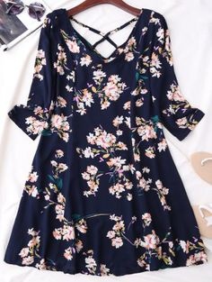 V Neck Floral Print Flared Dress - Purplish Blue