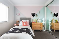 CHILDRENS BEDROOM: Minerals is the perfect theme if you want to have some fun decorating! It's all about geometric patterns, pastel tones of grey, blush pink and peppermint; pair this with white and oak timbers and you're sure to impress your kids. Visit Minerals on our Lookbook here: http://www.metricon.com.au/get-inspired/lookbook/minerals