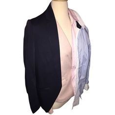 Pre-owned H&m Fitted Pink/navy/white/light Blue Blazer ($135) ❤ liked on Polyvore featuring outerwear, jackets, blazers, pink, fitted jacket, h&m, pink jacket, h&m blazer and navy blue jacket