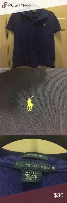 Ralph Lauren Polo Classic fit royal blue polo by Ralph Lauren with bright green logo Polo by Ralph Lauren Tops