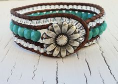 Turquoise Leather Cuff Beaded Leather Wrap Bracelet