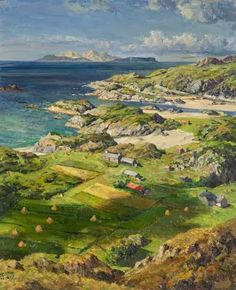 Rum and Eigg from Ardtoe, Acharacle, Argyllshire, 1959 by James McIntosh Patrick (Scottish Traditional Landscape, Traditional Art, Landscape Art, Landscape Paintings, Landscapes, Baroque Painting, Art Uk, Lake District, Painting & Drawing