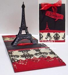 Frances Byrne using the Pop it Ups Eiffel Tower Pop Stand, Paris Edges and Rectangle Accordion die sets by Karen Burniston for Elizabeth Craft Designs.