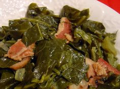 "Crock Pot Collard Greens and Ham -- An excellent choice as a side dish for fried catfish or pulled pork. Also goes well with cornbread to soak up the juices which are called ""pot likker"". When you eat this kind of food, you know you are living! Crock Pot Recipes, Ham Recipes, Vegetable Recipes, Slow Cooker Recipes, Cooking Recipes, Crock Pots, Barbecue Recipes, Oven Recipes, Side Recipes"