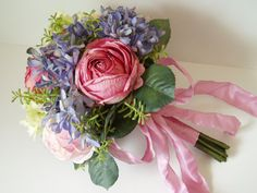 Wedding Bouquet Brides Bouquet Silk Flower Set PINK by WeeGardens (i like this idea but real flowers with dark purple hydrenga)