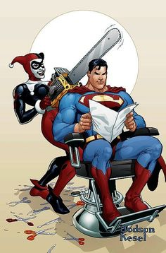 Just a little off the top.lol that thing probably wouldn't even cut his hair XD HARLEY QUINN vs SUPERMAN by Terry Dodson Superman: Just a little off the top, ok Harley? Harley Quinn: Okay Mister S! Comic Books For Sale, Comic Books Art, Comic Art, Harley Quinn Et Le Joker, Dc Comics, Dc Characters, Comic Book Covers, Comic Character, Catwoman