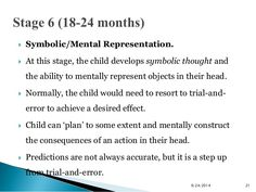  Symbolic/Mental Representation.   At this stage, the child develops symbolic thought and  the ability to mentally repre...
