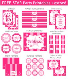 Free Pink Star Party Printables   Extras!