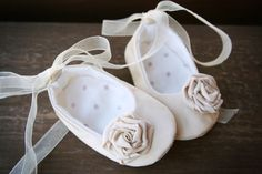 Baby girl shoes ivory ballerina slippers by MartBabyAccessories, $19.95