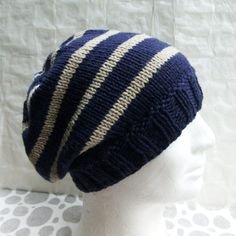 Knitting Pattern for Campus Striped Slouchy Beanie for Girls and Women Easy/ Knit Round I designed the first one of these hats for my niece who has just started high school, and it looked so cute and lovely, I decided to convert the pattern into a PDF and offer it here for sale. The hat is handknit in a superwash wool, in coordinating stripes. This is a loose , casual , slouchy beanie. It is very comfortable to wear and is a style that suits all ages , both men and women, and of course, ...