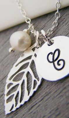Silver Leaf Personalized Initial Freshwater Pearl Sterling Silver Necklace