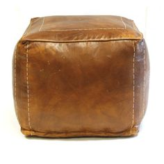 Conservation brown full leather pouf - Stools - Furniture - PTMD