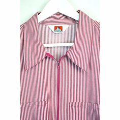 4d1cd5240 BEN DAVIS Size XXXL 3X SHIRT Short Sleeve 1/4'' Zip Red White Stripe  Pullover