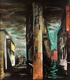 "Title unknown from ""Death in Venice"" by British artist John Piper Screenprint on paper. Set design for Benjamin Britten's opera. Gcse Art Sketchbook, John Piper, A Level Art, Elements Of Art, Urban Landscape, Contemporary Paintings, Architecture, Urban Art, Figurative Art"