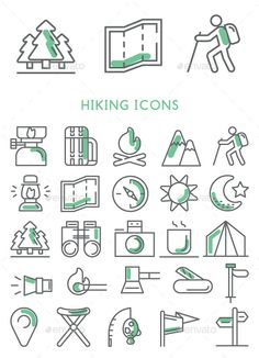 Hiking Icons Set Vector #design Download: http://graphicriver.net/item/hiking-icons-set-vector/12286545?ref=ksioks