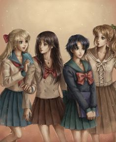 Cool art with Inner Scouts: Sailor Venus, Sailor Mars, Sailor Mercury, Sailor Jupiter