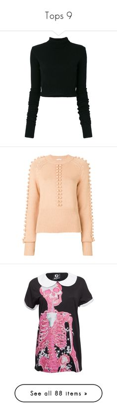 """Tops 9"" by cupkatyk ❤ liked on Polyvore featuring tops, sweaters, crop, shirts, black, turtle neck jumper, cropped turtleneck, faith connexion, cropped sweater and polo neck jumper"