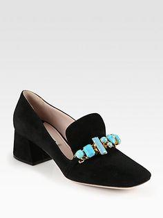 Miu Miu - Stone-Detail Suede Loafers - Saks.com