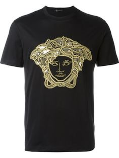 Shop Versace embroidered Medusa T-shirt in Luisa Boutique from the world's best independent boutiques at farfetch.com. Shop 400 boutiques at one address.