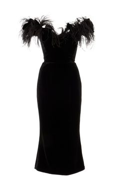 Ostrich Feather Off The Shoulder Velvet Dress by Marchesa