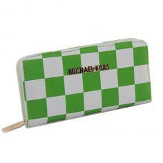 Michael Kors Checkerboard Large Green Wallets