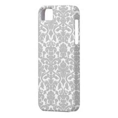 Silver Gray Ornate Floral Damask Pattern iPhone 5 Case