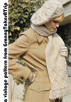 Vintage Knitting Pattern, Instant Download Pdf -1970s Aran SLOUCH HAT & SCARF Set, Boho/Folk chic from GrannyTakesATrip 0169