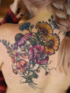 echinacea foxgloves poppy botanical flower tattoo by Aubrey Mennella : IG Aubrey. flower tattoo echinacea foxgloves poppy botanical flower tattoo by Aubrey Mennella : IG Aubrey 1 Tattoo, Cover Up Tattoos, Back Tattoo, New Tattoos, Body Art Tattoos, Small Tattoos, Sleeve Tattoos, Cool Tattoos, Flower Tattoos On Back