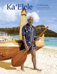 "Cover of Summer 2015 Ka 'Elele - Duke Kahanamoku at Waikīkī dressed in ""Duke Kahanamoku"" - brand swimwear manufactured by Cisco, 1949. The original black-and-white image has been digitally colorized for this issue."