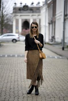 20 Inspiring Outfits That Show You How to Rock Fringe This Spring - gorgeous brown suede wrap skirt with fringe hem