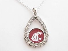Washington State Cougars NCAA Teardrop Clear Crystal Silver Necklace