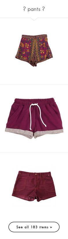 """""""✦ pants ✦"""" by inconvenient ❤ liked on Polyvore featuring shorts, bottoms, pants, short, short shorts, pajamas, plum, clothes - shorts, etoile isabel marant shorts and highwaist shorts"""
