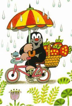 Ansichtskarte: Der kleine Maulwurf auf dem Fahrrad - The little mole • EUR 1,00…