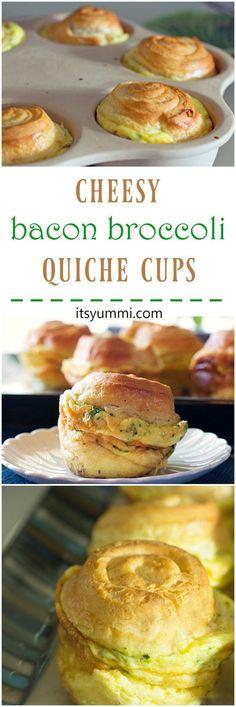 Cheesy Bacon Broccoli Quiche Crescent Cups from ItsYummi.com ~ Fluffy ...