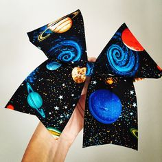 Big galaxy Cheer Bow space planets black blue ($13) ❤ liked on Polyvore featuring accessories, hair accessories, black hair accessories, hair bow accessories and blue hair accessories