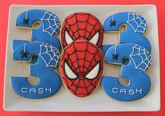 Spiderman Cookies - Visit to grab an amazing super hero shirt now on sale! Spiderman Cookies, Spiderman Birthday Cake, Superhero Cookies, Spiderman Theme, Avengers Birthday, Superhero Cake, Superhero Birthday Party, 3rd Birthday Parties, Boy Birthday