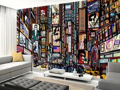 Times Square Abstract Wall Mural Part 33