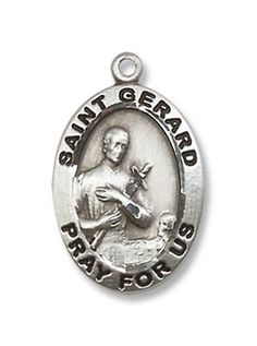 Sterling Silver St Lucy and Sacred Heart Medal Necklace Oval 1.8mm Chain