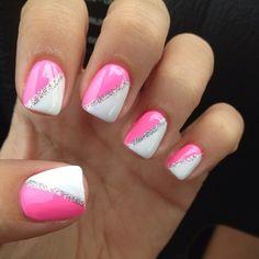 Nails!! #pink#white#nails