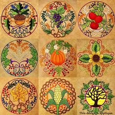 Fall Circles Machine Embroidery Designs - $10.00 : Golden Needle Designs, Great machine embroidery designs