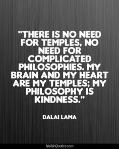 There is no need for temples, no need for complicated philosophies. my brain and my heart are my temples; my philosophy is kindness - Dalai Lama Compassion Quotes, Kindness Quotes, Kindness Matters, Quotes To Live By, Me Quotes, 2015 Quotes, Mommy Quotes, Good Sentences, My Philosophy