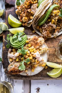 #recipes Cheesy Zucchini Roasted Corn Tacos With Mango Salsa Verde. #foodie