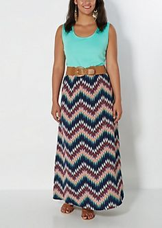 Plus Belted Mint Chevron Tank Maxi Dress